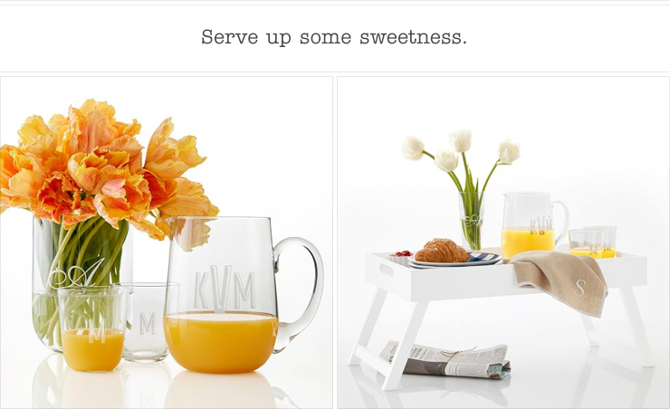 Serve up some sweetness. Glass Vase, Glass Pitcher, Glass Juice Glasses, Lacquer Breakfast Tray