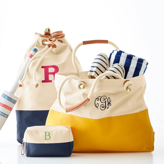 Dipped canvas monogrammed beach tote