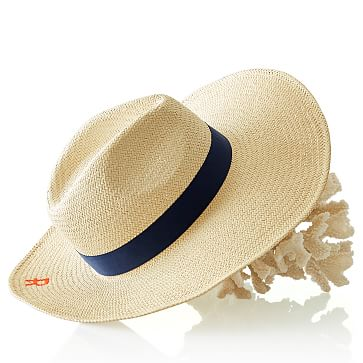 Oversized Panama Hat, Natural-Navy, Small-Medium
