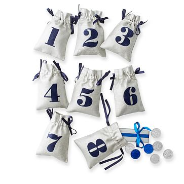 Set of 8 Gelt Bags, Silver and Navy