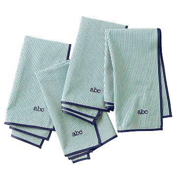Seersucker Dinner Napkins, Kelly Green with Navy, Set of Eight