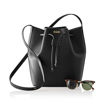 Westbury Leather Bucket Bag, Black
