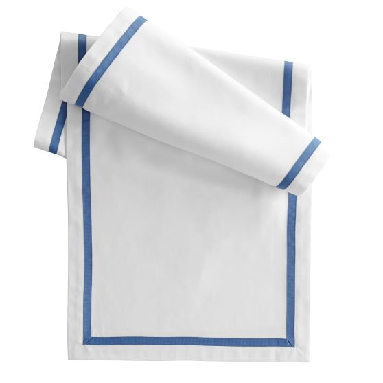 Table Runner with Inset Grosgrain Border, White Cotton with Porcelain Blue