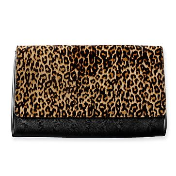 Leopard Clutch, Black