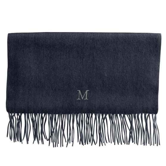 Cashmere Herringbone Scarf with Fringe, Steel Gray