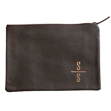 Everyday Leather Zip Pouch, Corner Monogram, Gray - Personalized