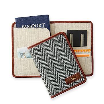 Herringbone Travel Passport Wallet, Ivory and Black