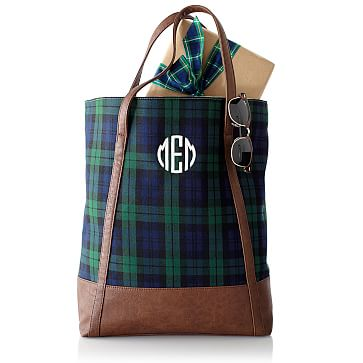 Pattern Simple Tote Navy Watch Plaid
