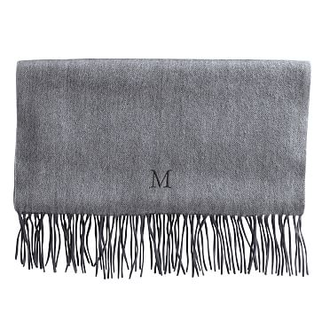 Cashmere Herringbone Scarf with Fringe, Solid Heather Gray