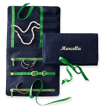 Linen Jewelry Roll, Navy with Kelly Green, Personalized