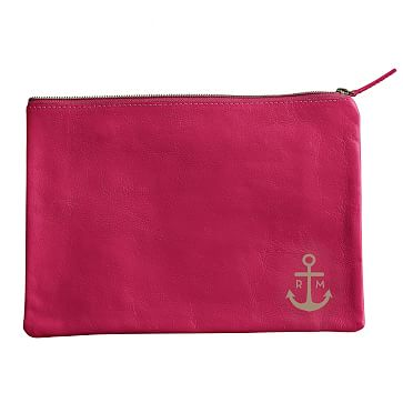 Everyday Leather Zip Pouch, Corner Monogram, Magenta