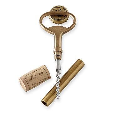 Classic Bottle Opener and Corkscrew, Antique Brass