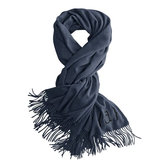 Exquisite Cashmere Wrap with Fringe, Steel Gray