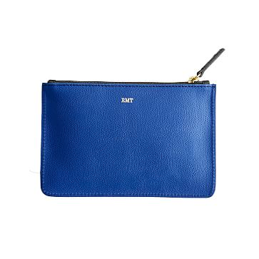 Piazza Zip Pouch, Black and Cobalt Blue