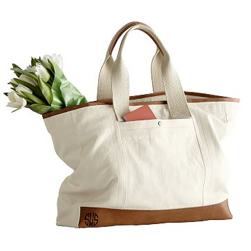 Canvas and Leather Tote, Natural
