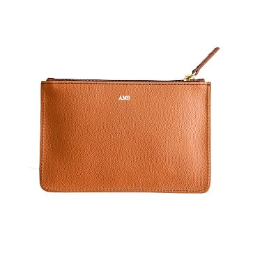 Piazza Zip Pouch, Cognac and Caramel