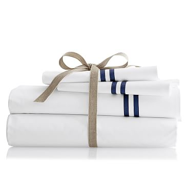 Italian Double Ribbon Sheet Set, Cal King, Navy