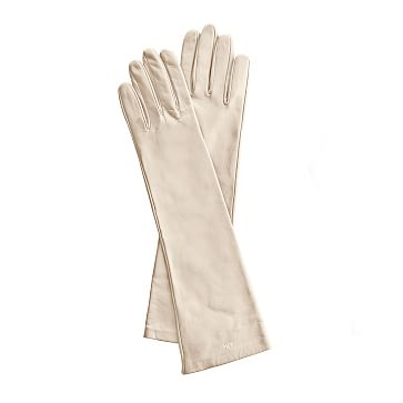 Women's Italian Leather Opera Glove, Size 7, Small, Ivory
