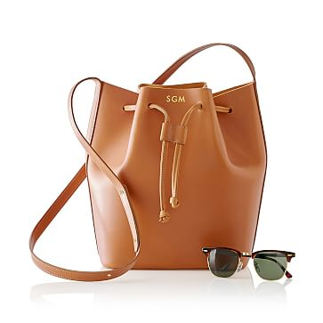 Westbury Leather Bucket Bag, Tan
