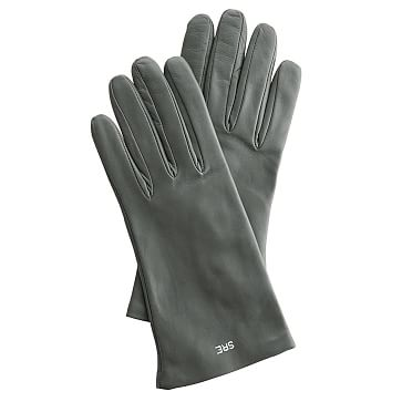 Women's Italian Leather Classic Glove, Size 7.5, Medium, Gray