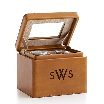 Rustic Leather 2-Slot Watch Box, Saddle