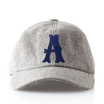 Wool Initial Baseball Ball Cap, Gray, A