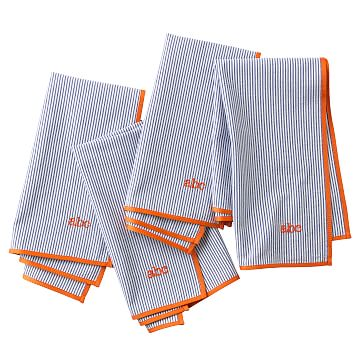 Seersucker Dinner Napkins, Navy with Orange, Set of Eight