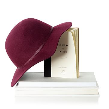 Short Brimmed Wool Hat, Size Medium, Burgundy