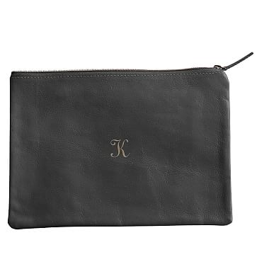 Everyday Leather Zip Pouch, Center Monogram, Gray - Personalized