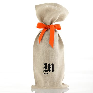 Linen Wine Bags with Grosgrain Tie, Orange with Monogram