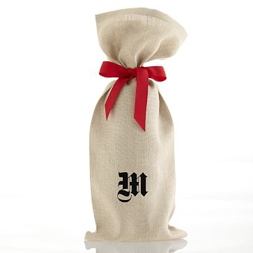 Linen Wine Bag with Grosgrain Tie, Red - Monogrammed