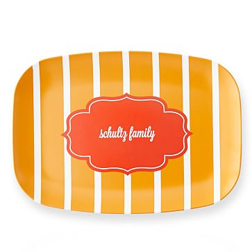 Personalized Melamine Tray, Vertical Stripes, Yellow and Orange