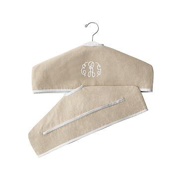 Linen Hanger Slipcover, Natural with White, Monogrammed