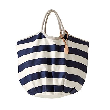 Lido Large Reversible Tote, Big Stripe, Navy