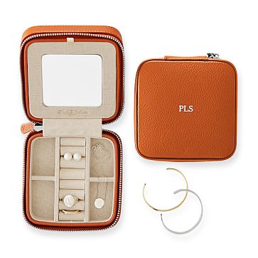 Travel Jewelry Case, Square, Orange