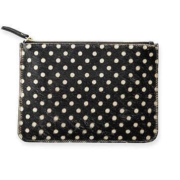 Hide Hair Pouch, Polka Dot, Black and White