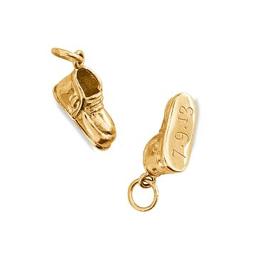Gold Plate Charms, Charm Only, Baby Shoe
