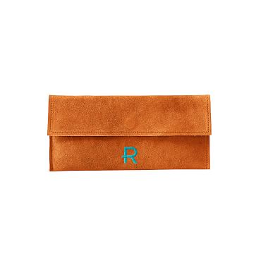 Suede Boho Envelope Clutch: Orange/Gray