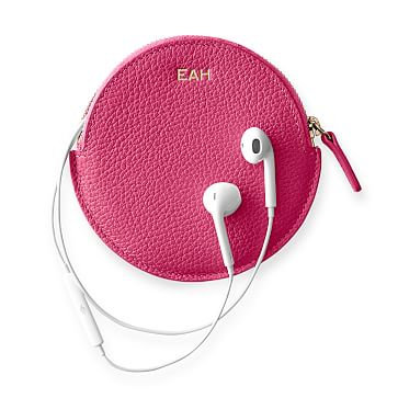 Vivid Leather Earbud Case, Pink