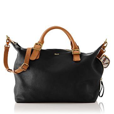 Brooklyn Buckle Bag, Black and Brown