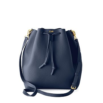 The Daily Bucket Bag, Leather, Navy