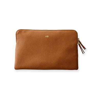 The Daily Zip Pouch, Leather, Camel