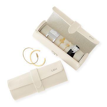 Travel Jewelry Storage Roll, White