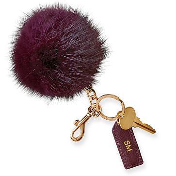 Pompom Keychain, Plum