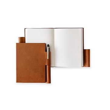 Leather Notebook with Pen Holder, Camel, Small