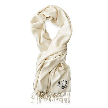 Blanket Scarf with Fringe, Solid Ivory