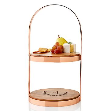 Tiered Serving Stand, Copper and Acacia