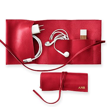 Leather Charger Roll Up, Red