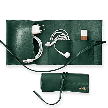 Leather Charger Roll Up, Racing Green