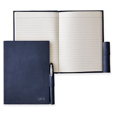 Leather Notebook with Pen Holder, Navy, Large